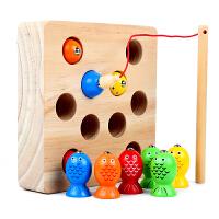 婴幼儿童磁性钓鱼玩具一岁半宝宝1-2-3周岁早教男女孩子木质