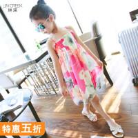 女童裙子童装夏季2018新款韩版儿童雪纺沙滩裙度假裙中大女孩裙子