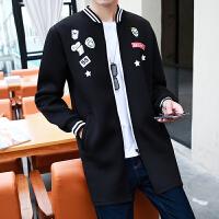 秋装男士中长款风衣青少年韩版休闲大衣外套潮流薄款修身披风男装