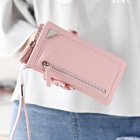 钱包女长款学生简约流苏拉链大容量女士手拿包