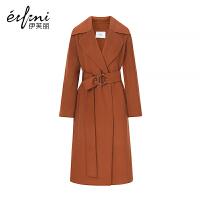 【商场同款】伊芙丽冬新款韩版毛呢外套长款过膝双面呢大衣女