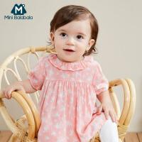【满200减130】迷你巴拉巴拉童装女宝宝透气套装2019夏季新品婴儿衣服裤子两件套