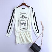 长袖t恤女宽松韩国夏装圆领上衣印花雪纺衫韩版白色连衣裙