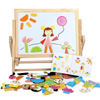 木质儿童支架式家用双面画板小黑折叠可升降磁性涂鸦板宝宝写字板