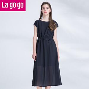 Lagogo2017年夏季新款纯色高腰显瘦连衣裙女短袖气质雪纺长裙