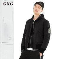 GXG男装 冬季男士修身时尚休闲简约黑色棒球服短款羽绒服外套男