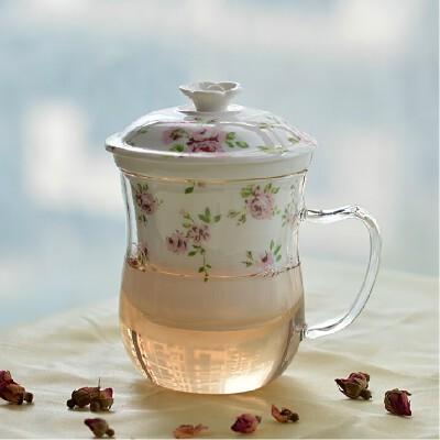 带盖玻璃花茶杯 耐热茶水分离杯陶瓷过滤泡茶杯办公室水杯子