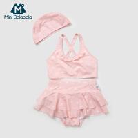 迷你巴拉巴拉女童泳衣2018新款夏季宝宝分体泳衣防晒 公主游泳衣