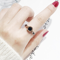 日韩食指钛钢玫瑰金潮人个性简约大气时尚指环戒指女