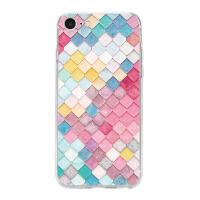 苹果6s套iphone7手机壳8plus玻璃女款软全包边菱形格子情侣外壳