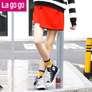 Lagogo2016秋冬新款时尚纯色百搭裤裙裤女短款秋装宽松韩版女装