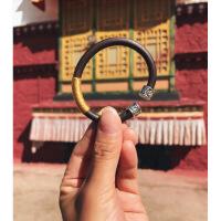 西藏鸡血藤手镯女男款有节925银包银野生无节木饰品情侣