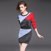 新款秋冬季女装甜美针织衫长袖上衣+半身一步包臀裙子两件套