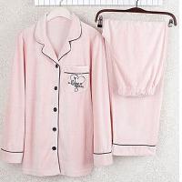 天鹅绒睡衣女秋加绒加厚纯色刺绣家居服长袖套装粉金丝绒 瑕疵天鹅绒粉