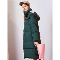 拉夏贝尔韩版宽松网红羽绒服女冬季新款外套加厚学生中长款面包服女装