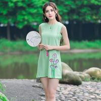 夏季新款 女装民族风刺绣花朵A字裙无袖显瘦连衣裙女 打底裙