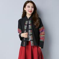 秋装新款民族风女装上衣纯麻面料绣花织带花布拼接立领短外套
