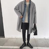 新款男士冬季外套韩版潮流中长款毛呢大衣青年过膝呢子大衣宽松风
