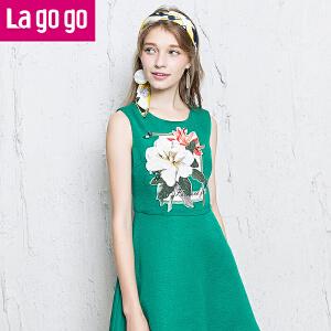 【每满200减100】Lagogo/拉谷谷新款无袖圆领时尚印花连衣裙
