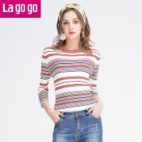【满200减100】Lagogo2017春秋百搭条纹套头针织衫女七分袖圆领修身显瘦毛衣短款GAMM32H203