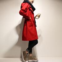 风衣女中长款韩版百搭2018秋装新款宽松红色大衣外套女装春秋季潮