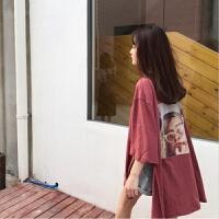 春季女装韩版原宿风人物印花宽松开衩中长款短袖T恤打底衫上衣潮 均码