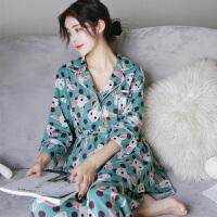 秋冬季日式和服棉长袖性感吊带睡衣三件套装女士家居服韩版睡袍 7738 CSZM M码(新品 纯棉三件套)