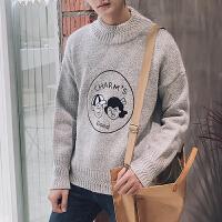 新款秋冬男士圆领毛衣人物刺绣个性条纹宽松版潮男毛衣针织衫