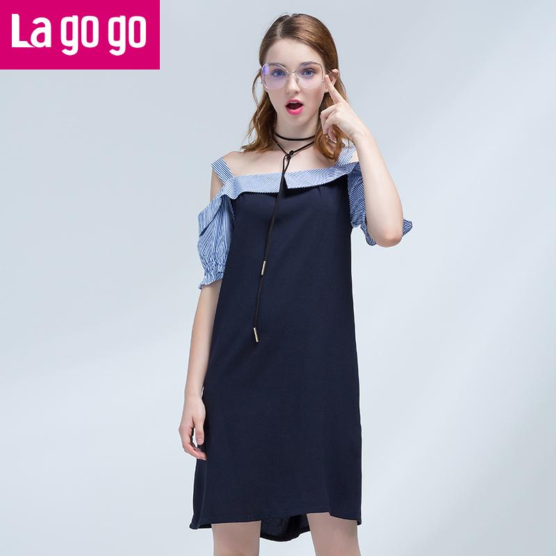 Lagogo拉谷谷2017夏季新款直筒喇叭袖一字领口拼接连衣裙女漏肩