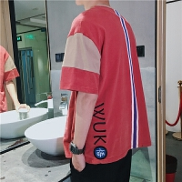 夏季短袖韩版衣服体恤潮流男士T恤夏装情侣宽松上衣圆领拼接男装