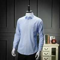 砖柜剪标撤柜尾单 春款工装衬衫男长袖蓝色条纹商务休闲长袖衬衣