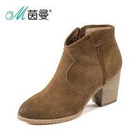 茵曼女鞋秋冬新款粗高跟靴子粗跟侧拉链短靴4864072054