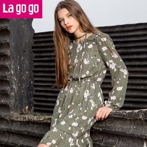 【每满200减100】Lagogo长袖雪纺裙2017年春新款时尚印花复古收腰显瘦碎花连衣裙