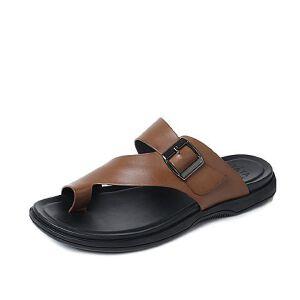 Tata/他她2017夏季牛皮时尚皮带扣套趾休闲男拖鞋2Q133BT7