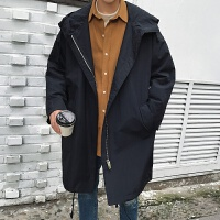2018春季新款中长款风衣男士韩版宽松连帽薄款大衣外套帅气潮男装