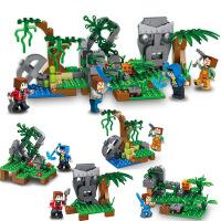 群隆将牌世界遗迹丛林世界拼装积木儿童启蒙DIY玩具男孩礼物0524