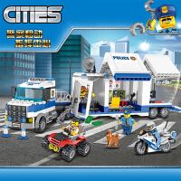 乐高城市系列警察总局移动指挥中心高速追捕儿童益智拼装积木玩具