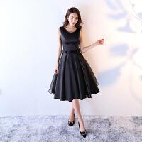 黑色晚礼服女短款2018新款优雅宴会公主连衣裙小礼服聚会修身显瘦