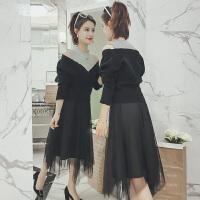 2018新款女装春装长袖针织连衣裙毛衣配裙子两件套长款毛衣裙过膝 黑色毛衣莎莎裙套装