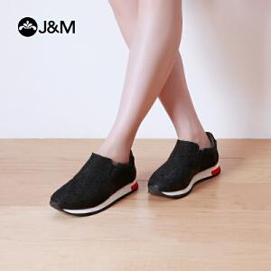 jm快乐玛丽春秋时尚平底蕾丝厚底套脚运动风圆头休闲女鞋子
