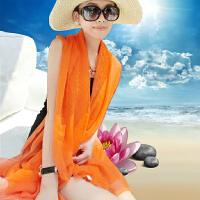 夏季纯色丝巾海边沙滩巾长款春秋披肩女纱巾围巾秋冬季大雪纺