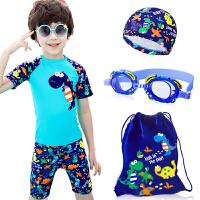 儿童泳衣男童泳裤套装男孩分体小中大童小恐龙游泳衣宝宝送帽