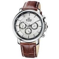 艾奇EYKI 急速系列三眼多功能石英表 时尚炫酷皮带男士手表EOVS8612