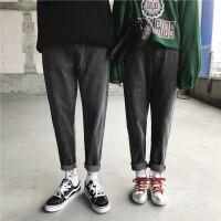 新款秋季时尚情侣牛仔裤男士修身小脚哈伦裤韩版青年潮流长裤