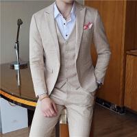 新品18春秋新款男士韩版修身印花西服三件套装潮流青年免烫休闲西