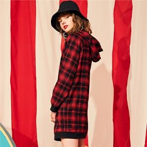 【一口价179元】撞色条纹格子卫衣裙2018新款韩版宽松中长款长袖连衣裙内搭女