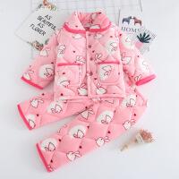 儿童秋冬季加绒加厚法兰绒男孩女童中大童宝宝夹棉珊瑚绒睡衣套装