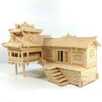 木质拼装立体拼图房子3D木制仿真建筑模型手工木头屋diy益智玩具