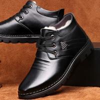 DAZED CONFUSED 潮牌皮鞋男鞋冬季加绒保暖圆头高帮休闲鞋男士棉鞋黑棕色