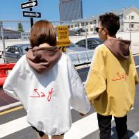 新款原宿风撞色运动套头连帽卫衣男士韩版潮流学生宽松外套